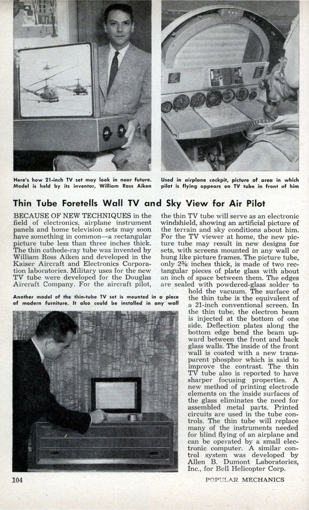 Popular Mechanics 1958 - Flat Screen TV