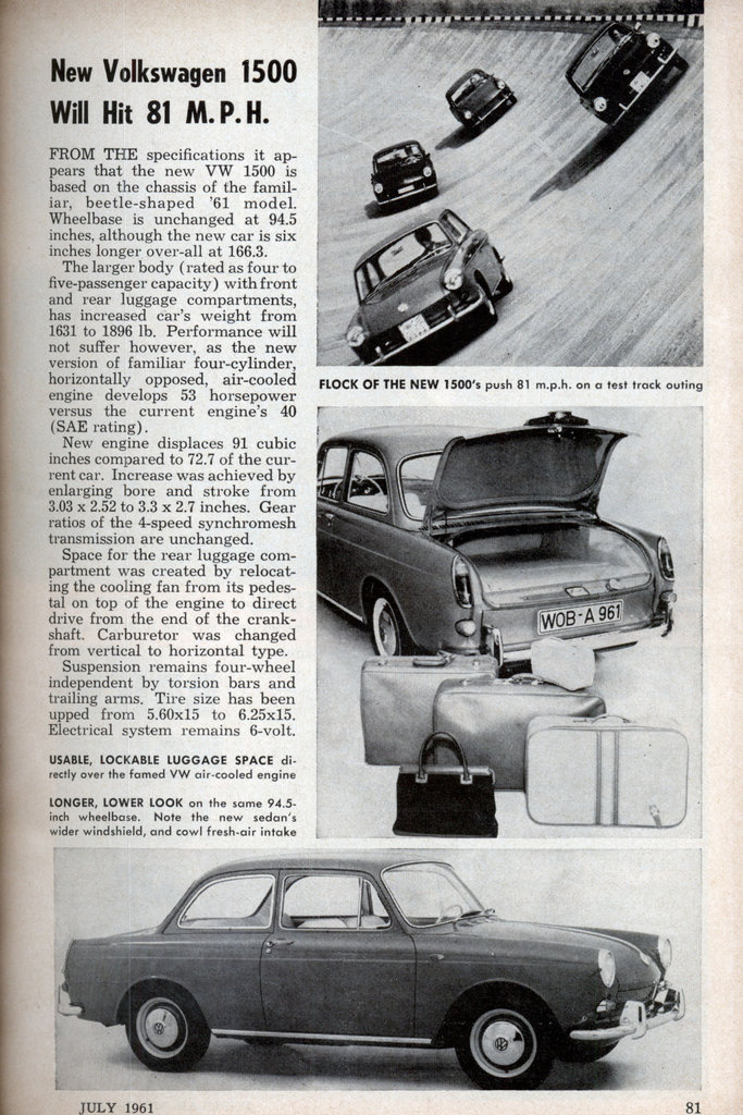 New Volkswagen 1500 Will Hit 81 M. P. H. (Jul, 1961)