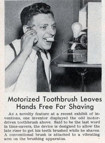 motorized toothbrush leaves hands free for shaving