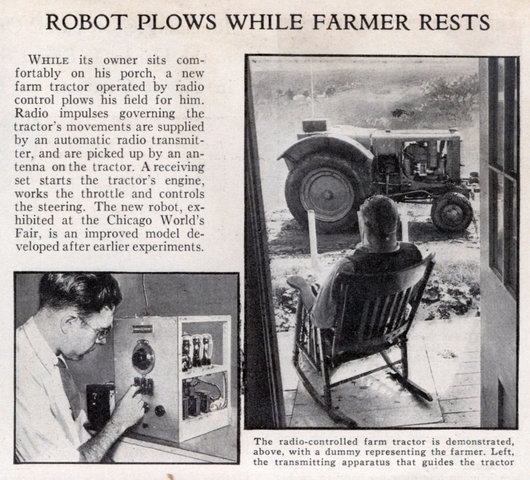 Radio impulses governing the tractor's movements are supplied by an
