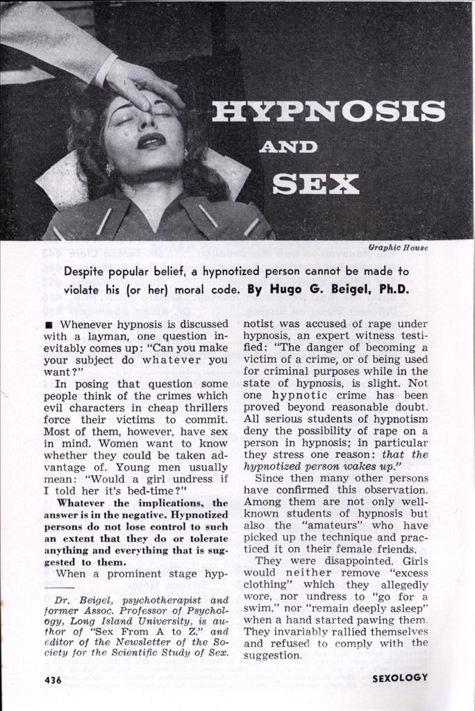 Hypnotized into sex